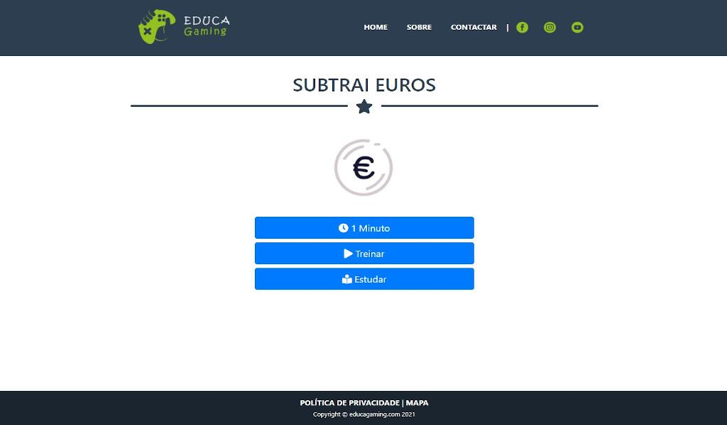 Subtrai Euros - Jogo com Euros