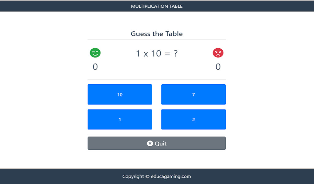 Math Tables - Educational Game